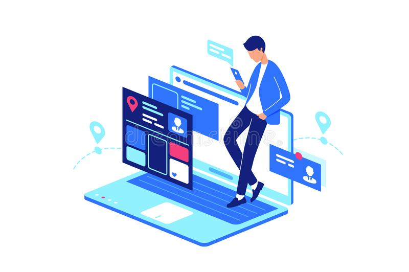 Online, web, internet service everyday life with laptop and smartphone, mobile phone. Concept young man with device in online social, forum, chat. Vector vector illustration