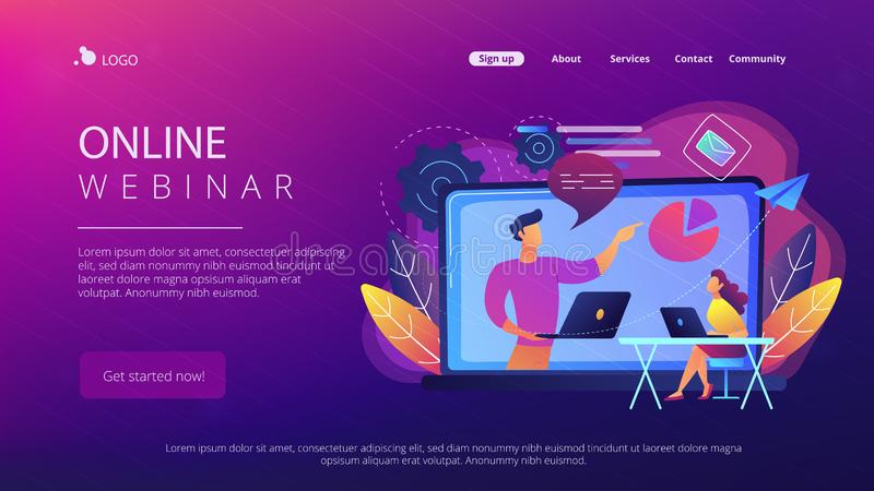 Online webinar landing page. Student with laptop and lector at the LCD screen. Online webinar landing page. Webinar, web seminars and peer-level web meetings stock illustration