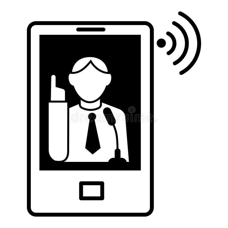 Online-webinar levande symbol, enkel stil stock illustrationer