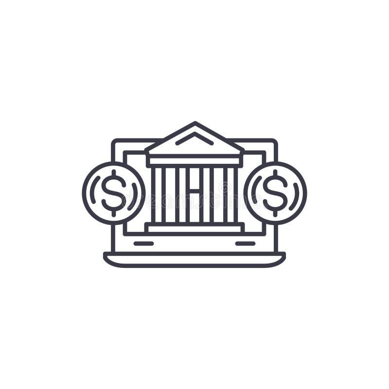 Online wekslowy liniowy ikony pojęcie Online wymiany linii wektoru znak, symbol, ilustracja royalty ilustracja