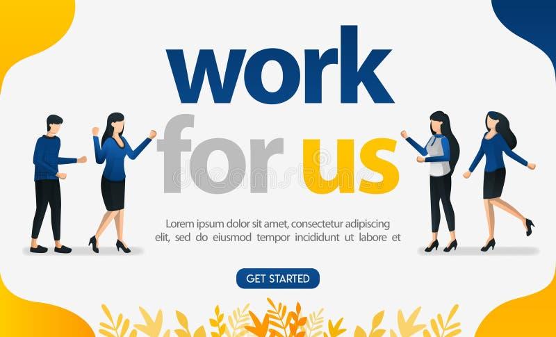 Online-Werbung für Jobsuchewebsite mit ARBEIT FÜR US-Wörter, Konzeptvektor ilustration für kann die Landung Seite, Schablone verw vektor abbildung