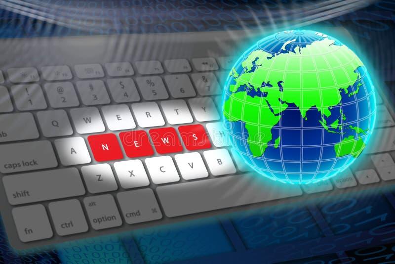Online wereldnieuws stock illustratie