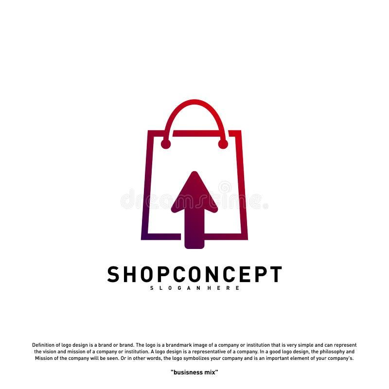 Online Winkel Logo Design Concept Online Winkelcentrum Logo Vector Online Opslag en giftensymbool vector illustratie