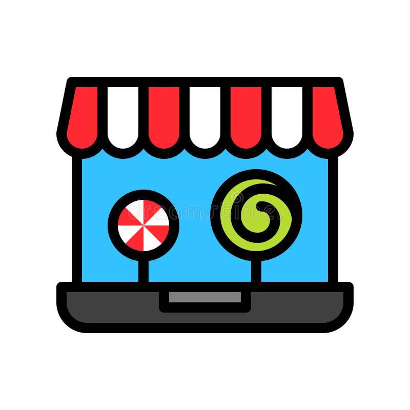 Online winkel vectorillustratie, het gevulde editable overzicht van het stijlpictogram royalty-vrije illustratie