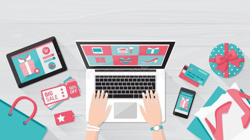 Online Winkelend stock illustratie
