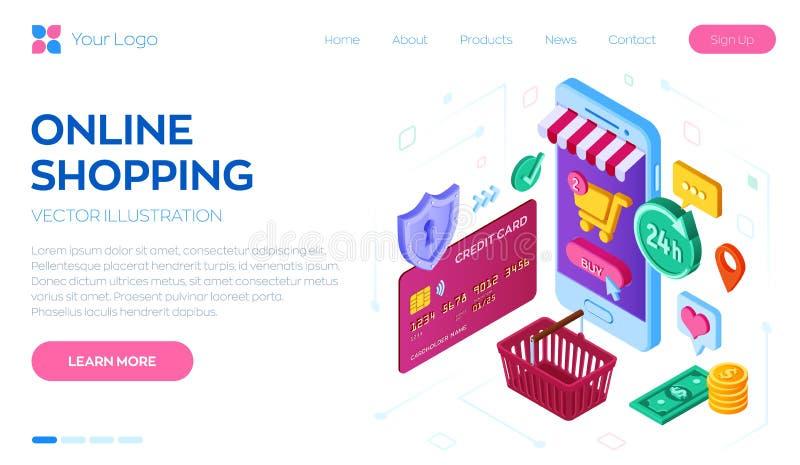 Online Winkelend 3D isometrische online opslag Het winkelen online op Website of Mobiele Toepassing Concept digitaal e-commerceve stock illustratie