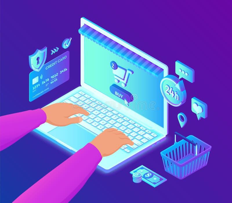 Online Winkelend 3D isometrische online opslag Het winkelen online op Website of Mobiele Toepassing Isometrische handen op laptop stock illustratie