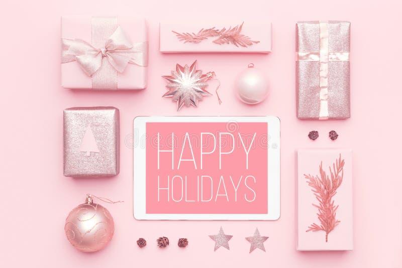 Online Winkelend, het Concept van de Kerstmisverkoop Het in dozen doen dagverkoop royalty-vrije stock afbeeldingen