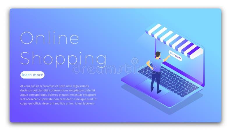 Online Winkelend Isometrische illustratie van mens het kopen online via laptop Het winkelen Webconcept stock illustratie
