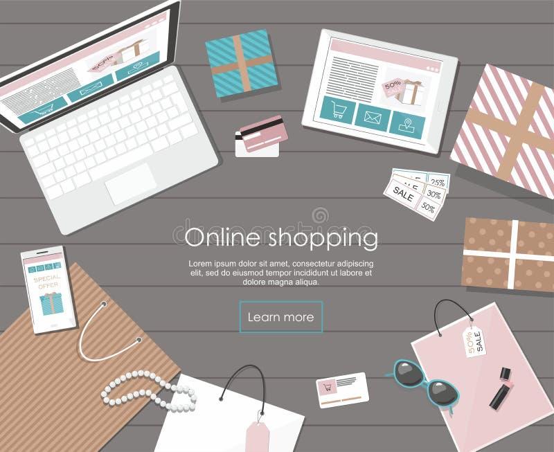 Online winkelend met digitaal tablet en notitieboekje royalty-vrije illustratie