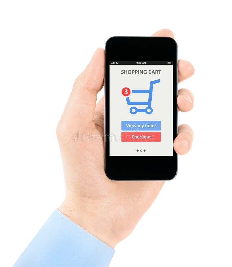 Online winkelend met mobiele telefoon royalty-vrije stock foto's