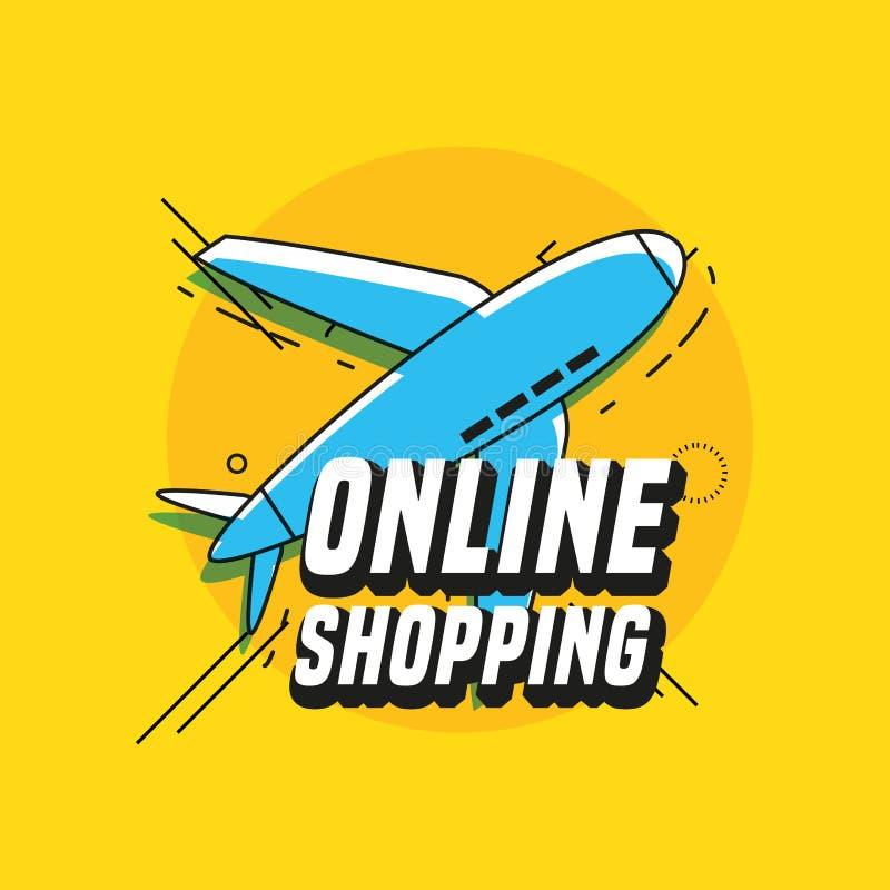 Online winkelend met vliegtuig het vliegen stock illustratie
