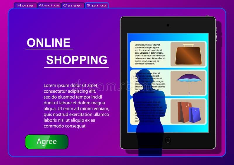 Online Winkelend Verkoop, consumentisme en mensenconcept Een vrouw in een online opslag die een tablet gebruiken selecteert produ stock illustratie