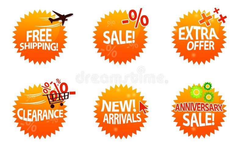 Online winkelpictogrammen stock illustratie
