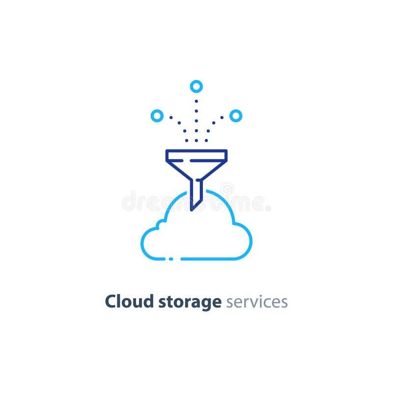 Online wolkenopslag, het pictogram van de het conceptenlijn van de gegevenssamenvoeging vector illustratie