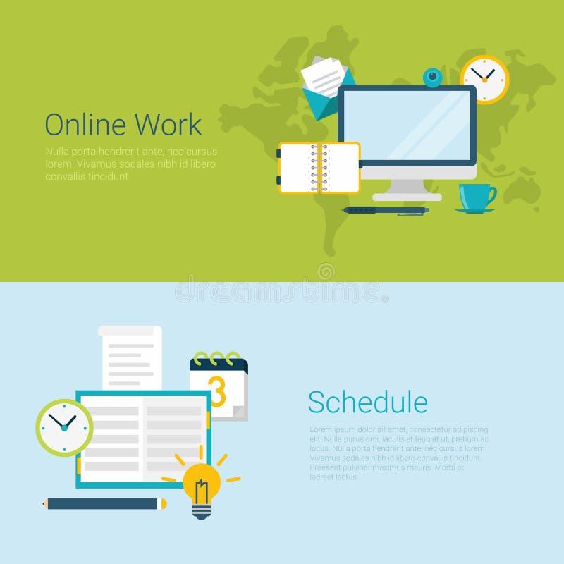 Online work schedule flat vector website slider banner. Flat style website slider banner online work schedule concept web infographics. Computer notebook vector illustration