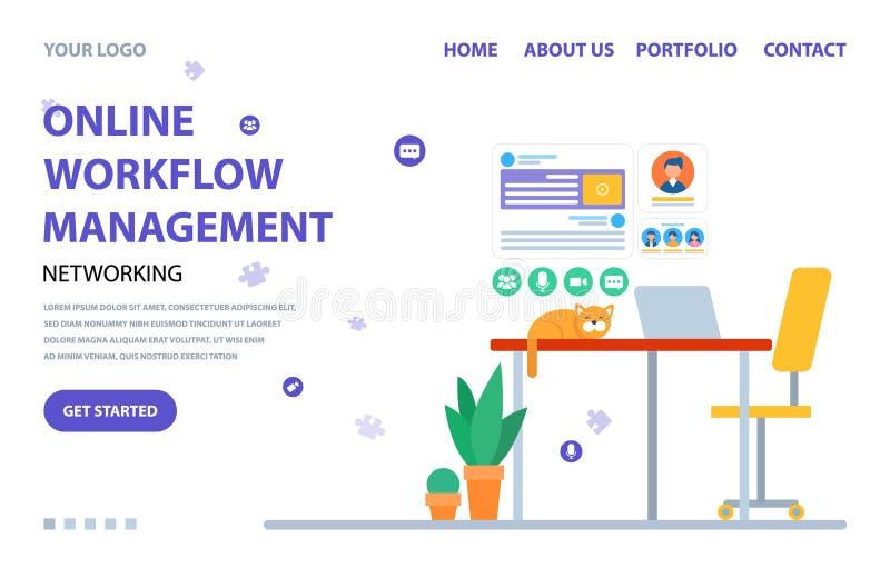 Management Online, Workflow Website Service Vector vector illustration