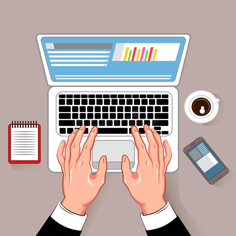 Online Working Laptop Composition. Online notebook working hands composition with coffee cup laptop and smartphone cartoon images on gray background vector royalty free illustration