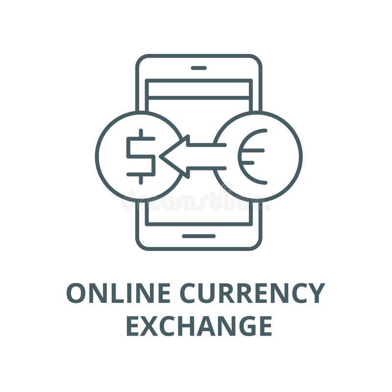 Online wymiana walut wektoru linii ikona, liniowy pojęcie, konturu znak, symbol ilustracja wektor