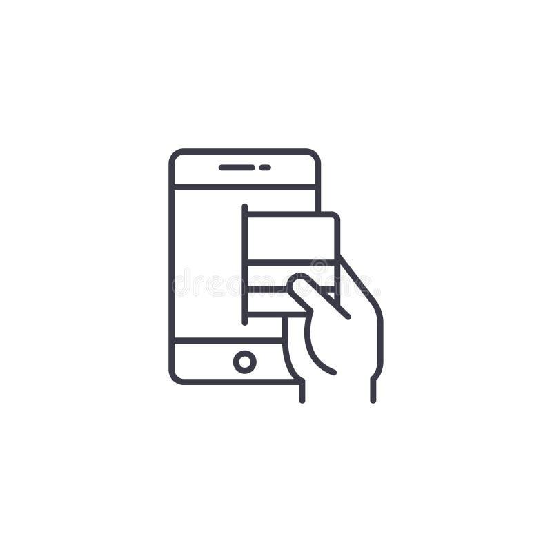 Online wynagrodzenie karcianym liniowym ikony pojęciem Online wynagrodzenie karty linii wektoru znakiem, symbol, ilustracja royalty ilustracja