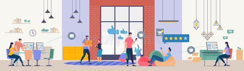 Online wysyłek technologie Rozwija wektor ilustracji