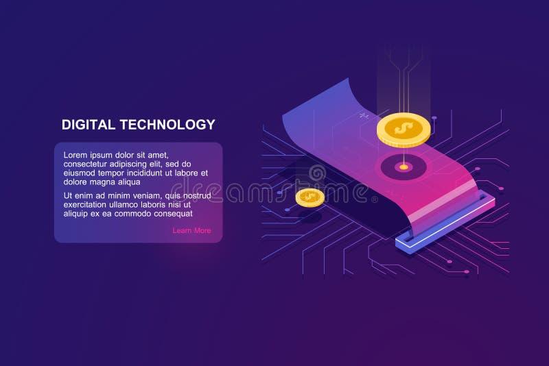 Online-Zahlung, isometrischer Ikonenvektor des Papierempfangs, Steuer mit Münze, Geldgeschäftskonzept, Technologie für Geld lizenzfreie abbildung