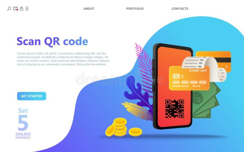Online-Zahlungs-Konzept-Illustrationssatz stock abbildung