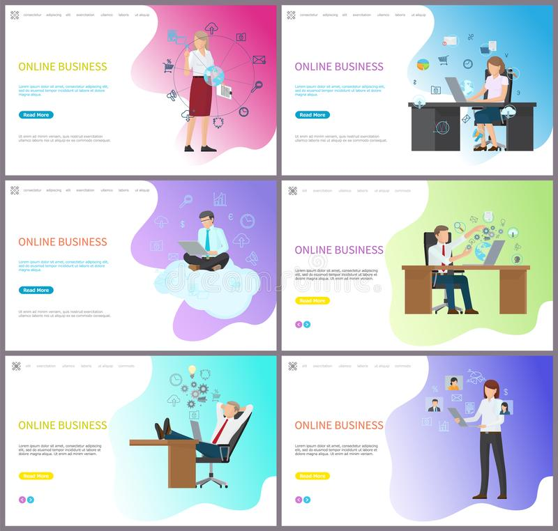 Online Zaken, Vrouw Chef- Sitting Working Place stock illustratie