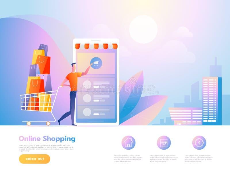 Online zakupów ludzie, antrakt z sklepem i Desantowy strona szablon Isometric Wektorowa ilustracja ilustracja wektor