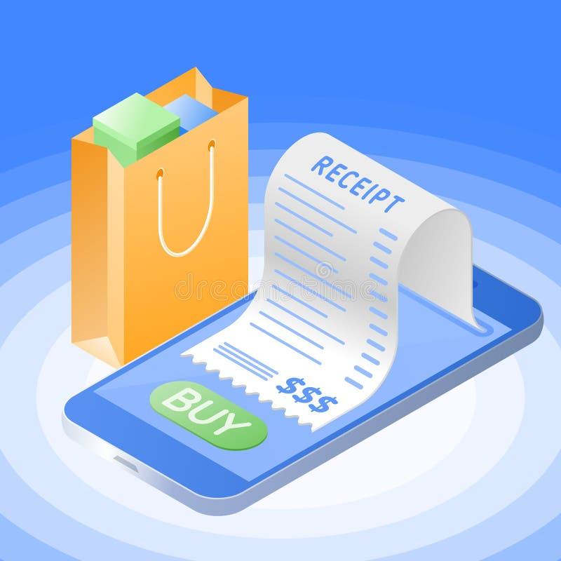 Online zakupu rachunek z telefonem komórkowym Płaski wektorowy isometri ilustracji