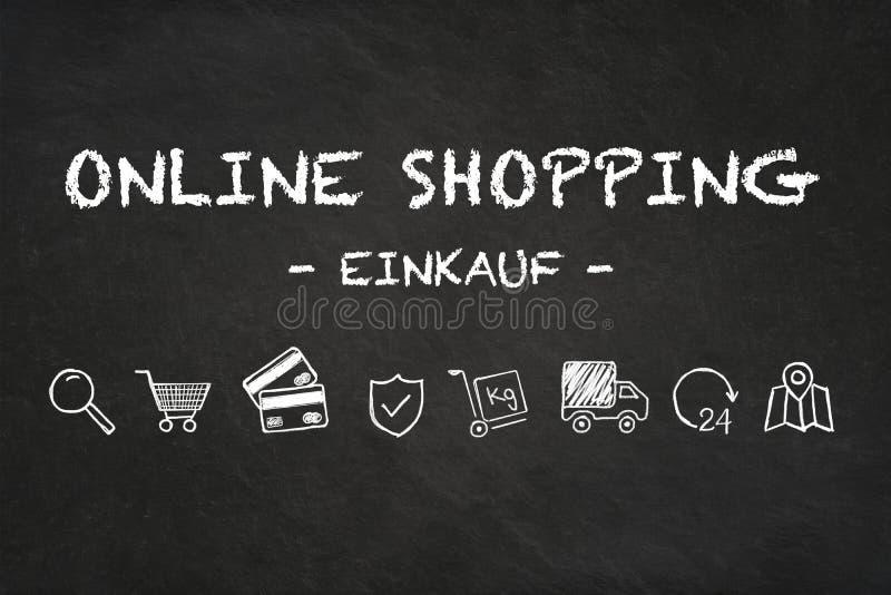 Online zakupy «Einkauf «tekst i ikony na kredowej deski tle Przekład: «zakup « royalty ilustracja