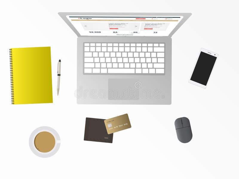 Online zakupy, biurko z laptopem, karta kredytowa, telefon komórkowy, notepad portfel, kawa i komputer osobisty mysz, Odosobniona royalty ilustracja