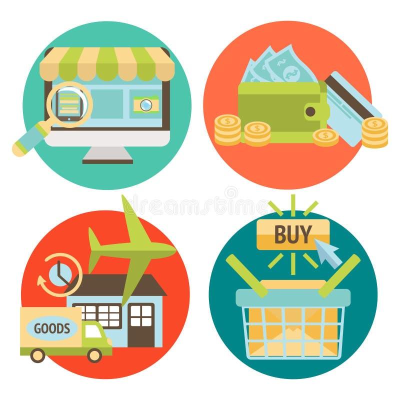 Online zakupy Biznesowe ikony Ustawiać royalty ilustracja