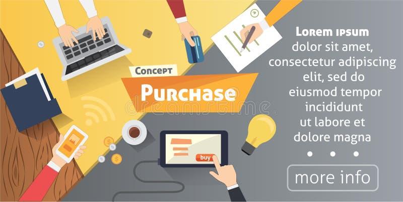 Online zakupy, desktop z komputerem, kredytowe karty, reklam ręki Pojęcie zakupu produktu wektorowa nowożytna płaska ilustracja ilustracja wektor