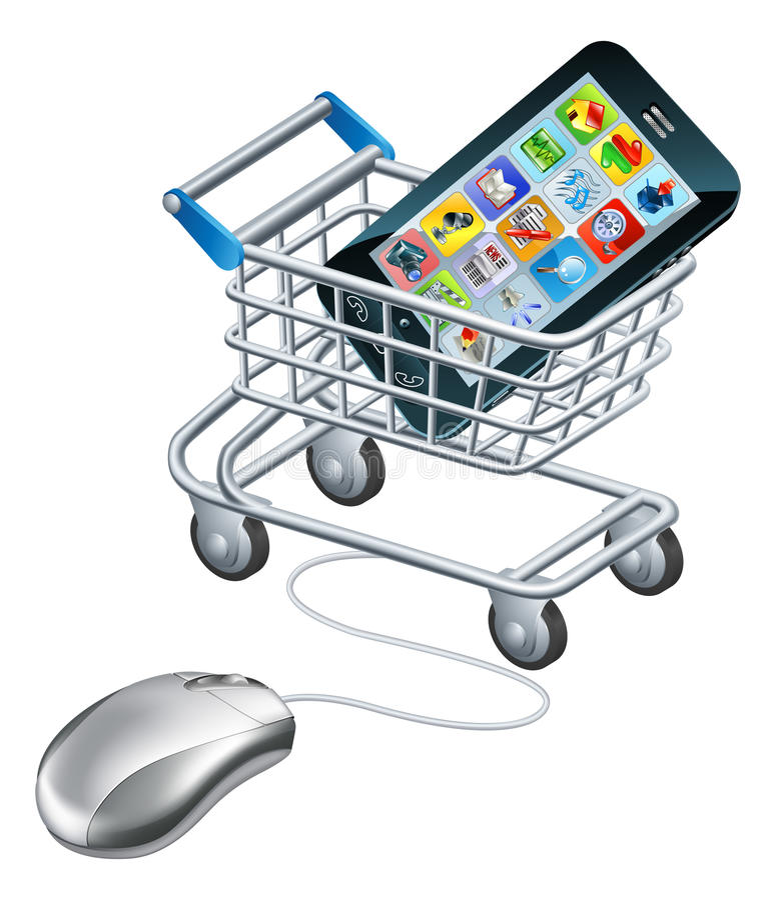 Online zakupy dla telefonu ilustracja wektor