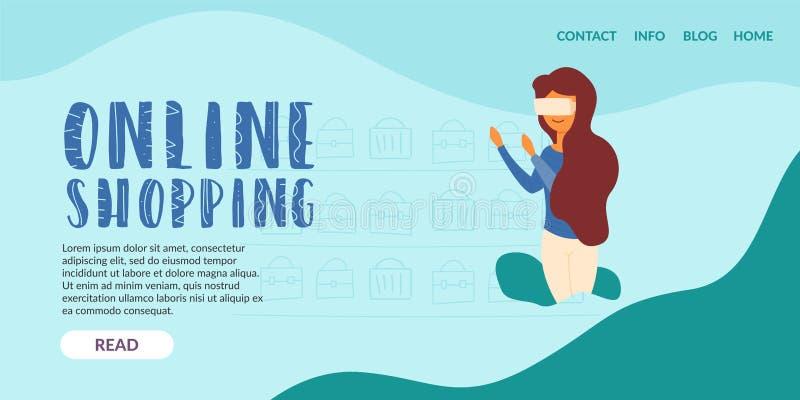 Online zakupy dziewczyny rzeczywisto?ci dodatkowi szk?a ilustracja wektor