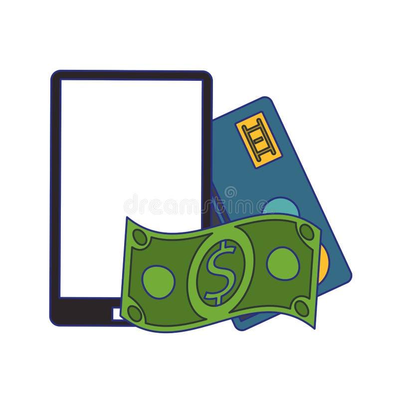Online zakupy i sprzeda?y symboli/l?w niebieskie linie royalty ilustracja