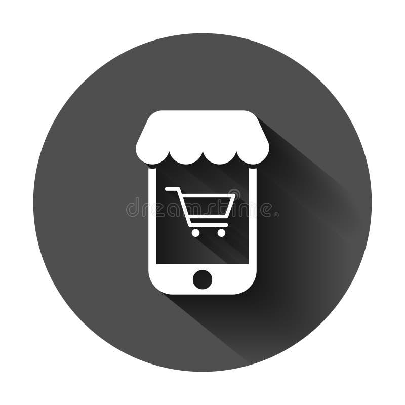Online zakupy ikona w mieszkanie stylu Smartphone sklepu wektorowa ilustracja na czarnym round tle z d?ugim cieniem sprzeda?ny ilustracji