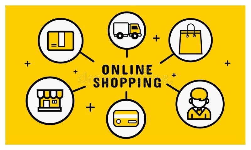 Online zakupy ikona Wektor infographic Kreskowa ikona nowożytna zdjęcie stock