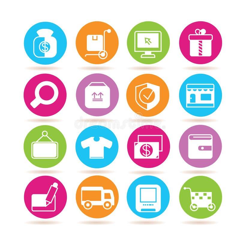 Online zakupy ikony royalty ilustracja