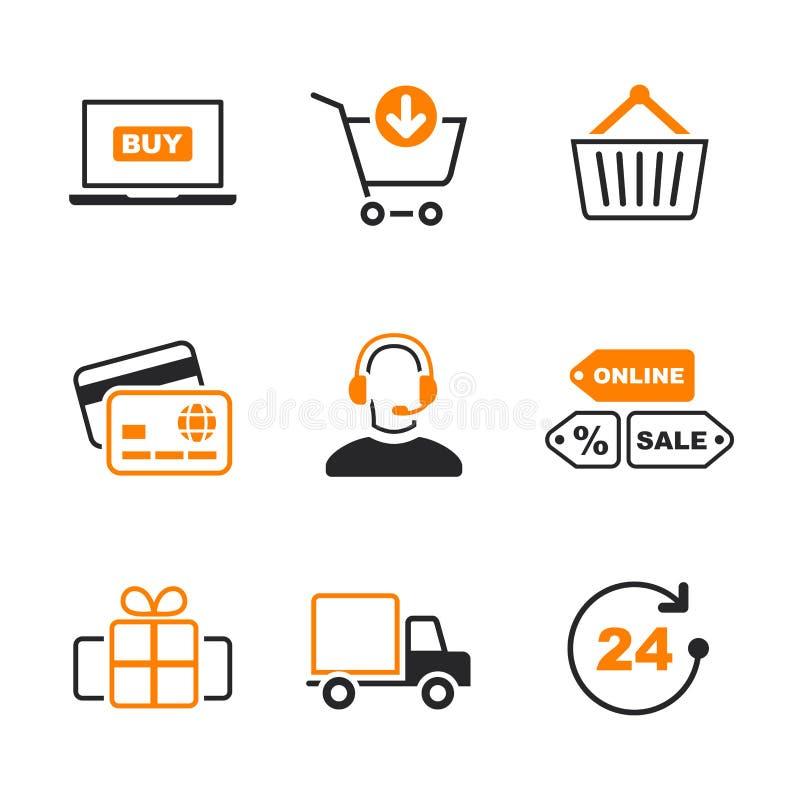 Online zakupy ikony prosty wektorowy set royalty ilustracja