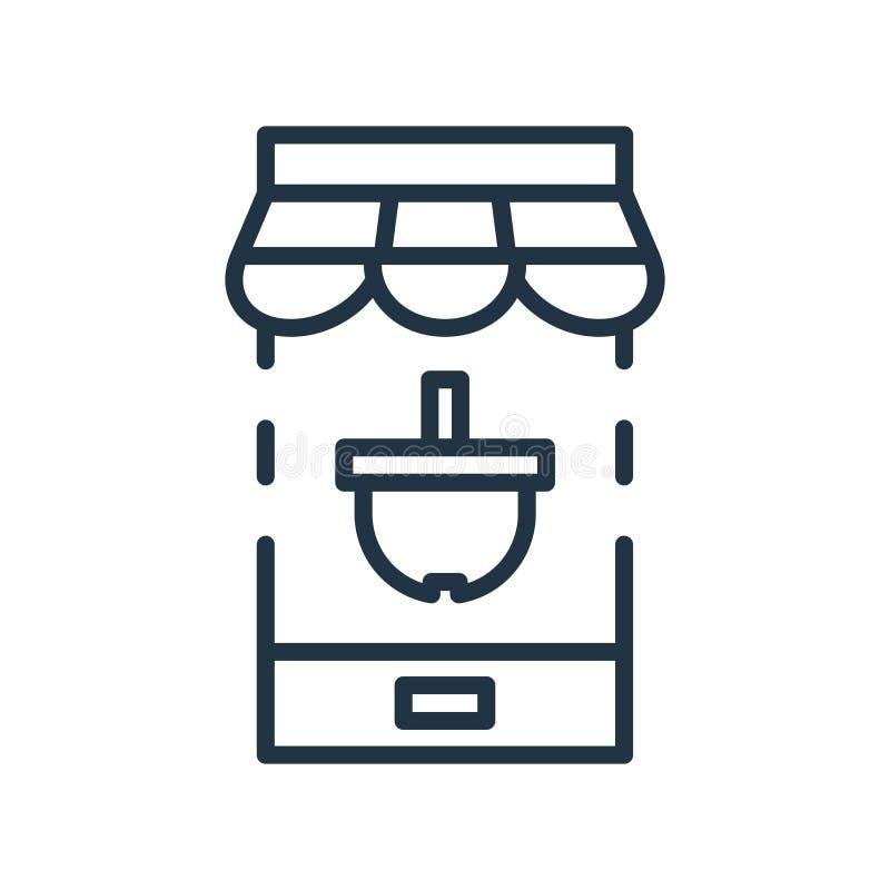 Online zakupy ikony wektor odizolowywający na białym tle, Online zakupy znak ilustracja wektor