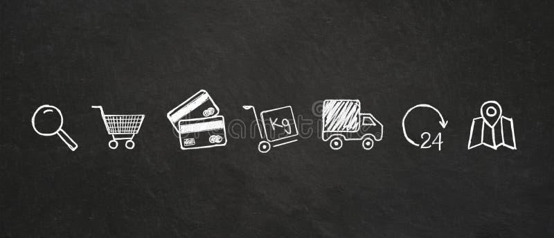 Online zakupy kredy ikony na blackboard tle ilustracja wektor