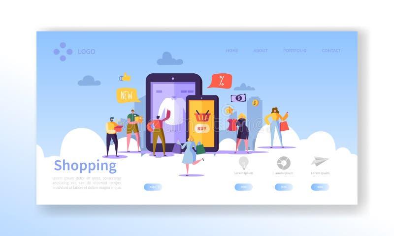 Online zakupy lądowania strona Płascy ludzie charakterów z torba na zakupy strony internetowej szablonem Łatwy redagować i Dostos royalty ilustracja
