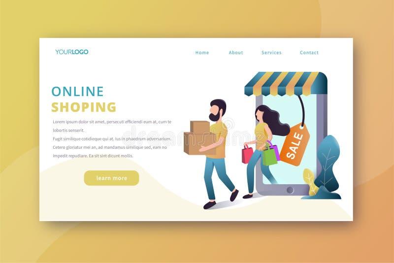 Online zakupy l?dowania strona ilustracja wektor