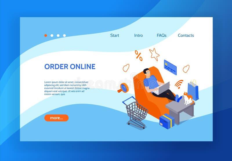 Online zakupy l?dowania strona royalty ilustracja