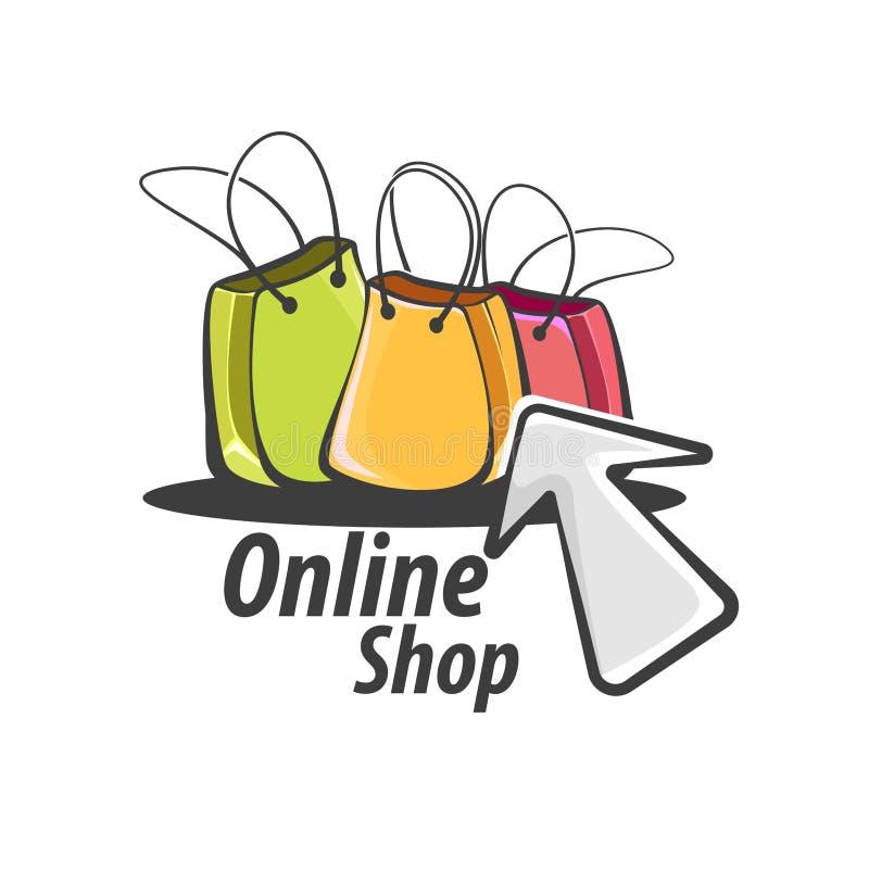 Online zakupy logo ilustracji