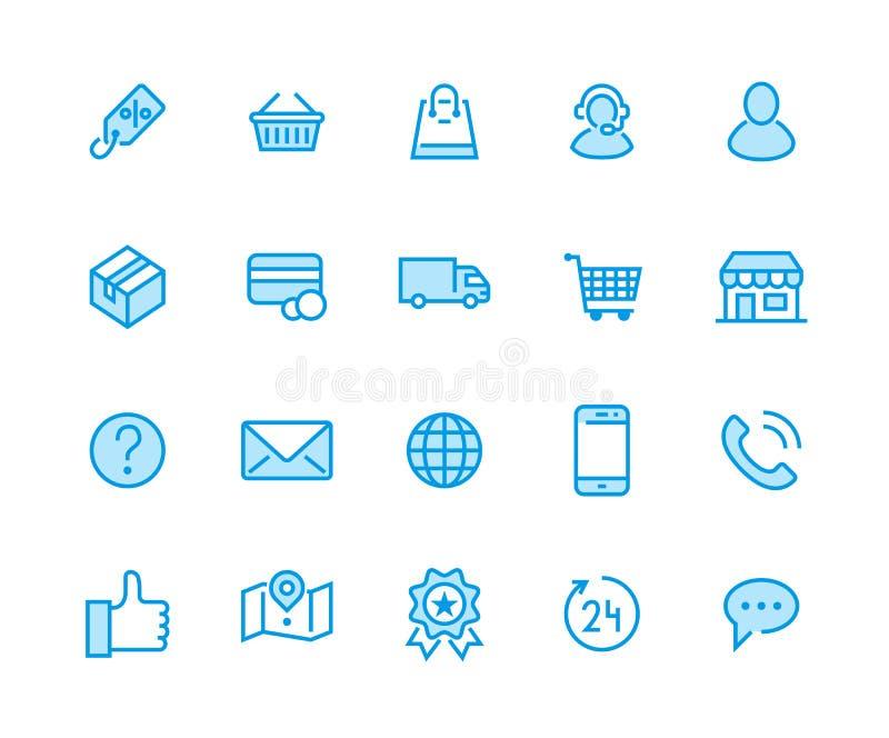 Online zakupy mieszkania linii ikony Handlu elektronicznego biznes, kontakty, poparcie, ogólnospołeczne sieci, sklepowy kosz, spr royalty ilustracja
