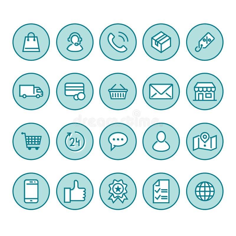 Online zakupy mieszkania linii ikony Handlu elektronicznego biznes, kontakty, poparcie, ogólnospołeczne sieci, sklepowy kosz, spr ilustracji