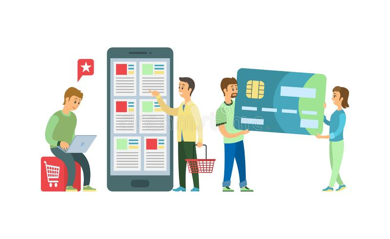 Online zakupy Mobilny App, karty kredytowej zapłata royalty ilustracja